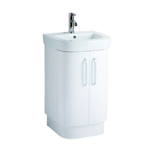 Vermont 500mm White Gloss Floor Standing Cabinet & Basin - 1 Tap Hole